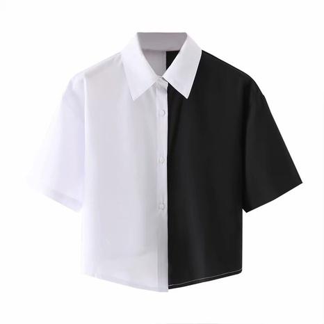 camisa de manga corta a juego en color blanco y negro NHAM310643's discount tags