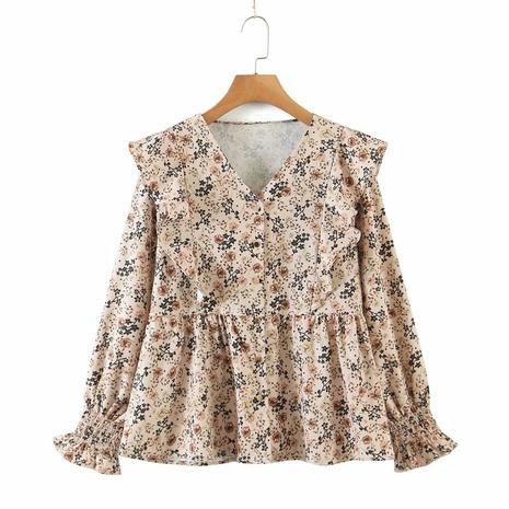Al por mayor camisa casual con cuello en v estampado floral NHAM310651's discount tags