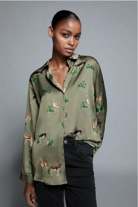 camisa de satén de seda con estampado de solapa NHAM310650's discount tags