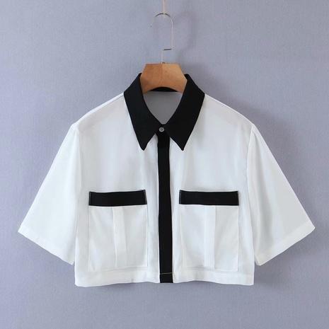 Camisa corta bolsillos cuello POLO NHAM310652's discount tags