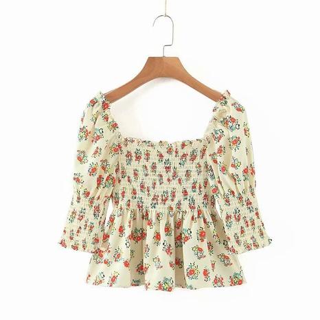 camisa floral de manga abullonada con cuello cuadrado de moda NHAM310653's discount tags