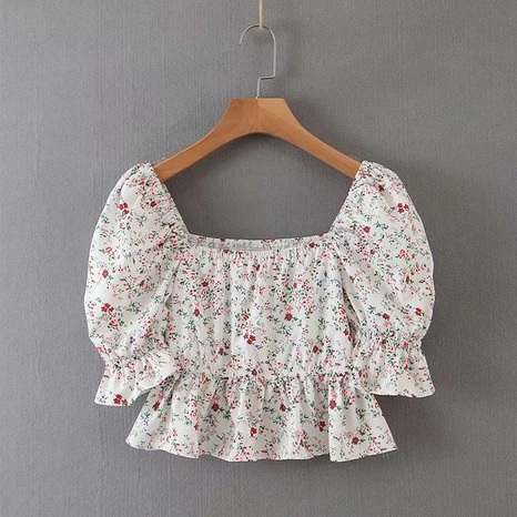 camisa floral de manga abullonada con cuello cuadrado de moda NHAM310654's discount tags
