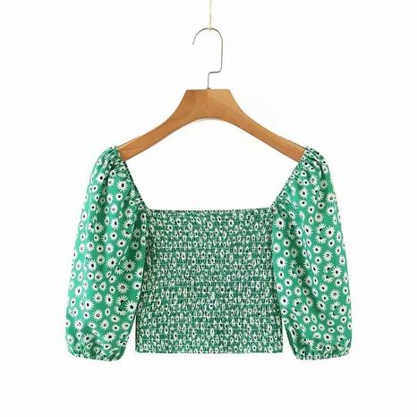 camisa corta con estampado de margaritas y cuello cuadrado retro NHAM310655's discount tags