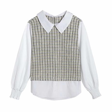 camisa blanca de costura de punto simple falso dos tops sueltos NHAM310656's discount tags