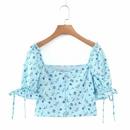 camisa floral con cordn en la parte inferior azul NHAM310668