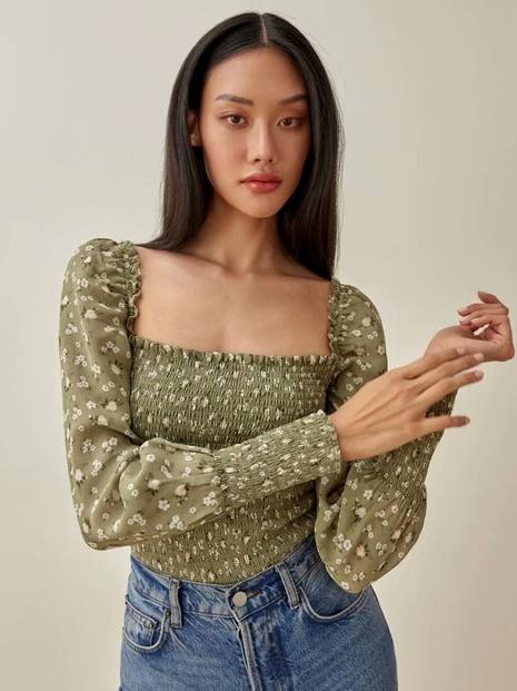 retro square neck long sleeve elastic floral shirt NHAM310674's discount tags
