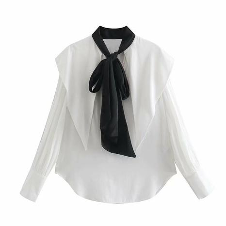 primavera nueva blusa suelta con solapa de lazo NHAM310675's discount tags