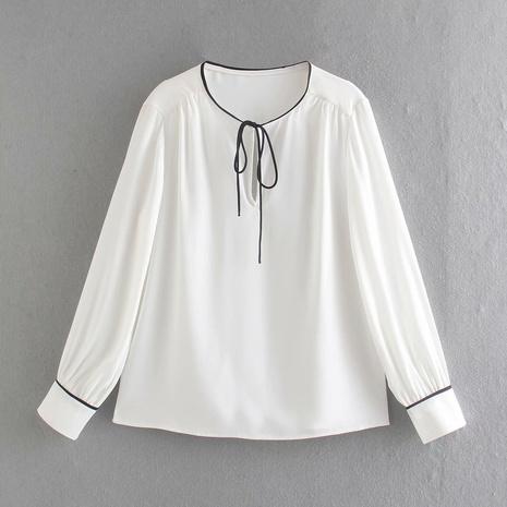 camisa de gasa de satén de encaje simple NHAM310679's discount tags