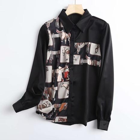 camisa casual suelta con costuras estampadas retro NHAM310682's discount tags