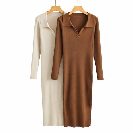 Vestido de manga larga de punto con cuello de pico NHAM310683's discount tags