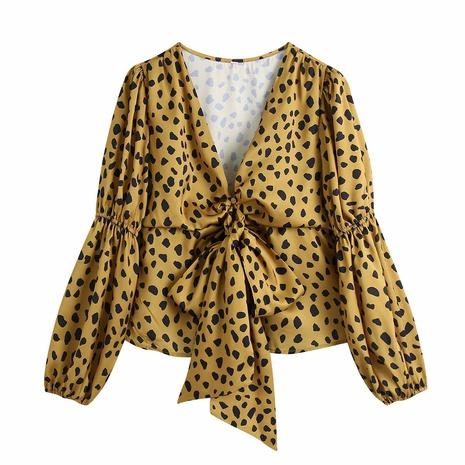 blusa con estampado de leopardo y lazo de primavera NHAM310684's discount tags
