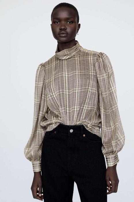 moda nueva camisa a cuadros NHAM310687's discount tags