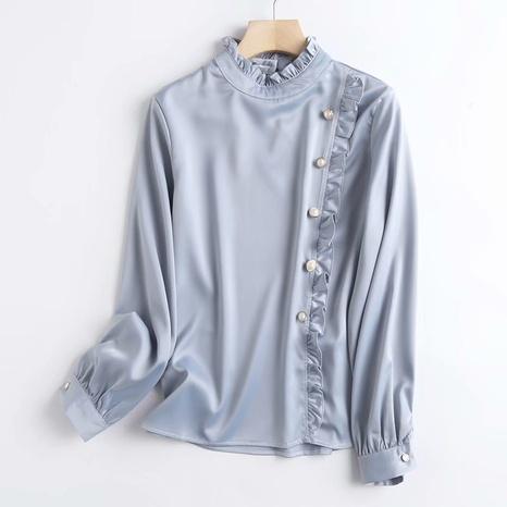 camisa de manga larga con costuras de encaje azul claro NHAM310689's discount tags