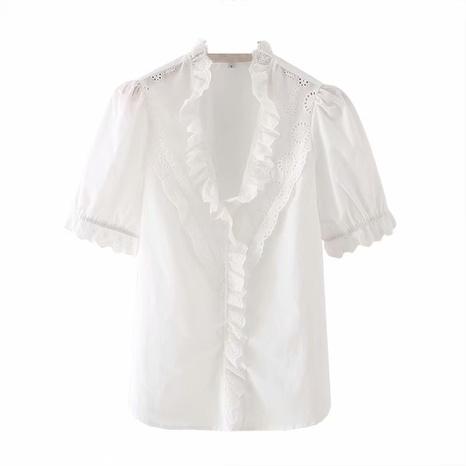 camisa holgada blanca con mangas abullonadas NHAM310693's discount tags