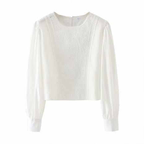 camisa holgada holgada de crochet de encaje con cuello redondo NHAM310694's discount tags