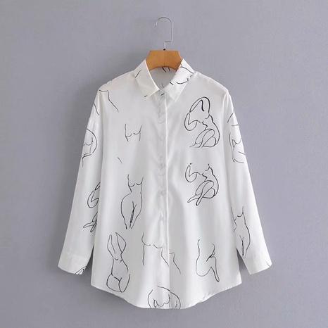 impresión de camisa de manga larga con solapa retro NHAM310699's discount tags