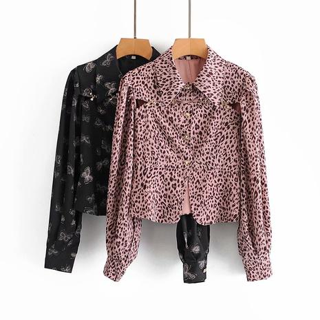 camisa holgada con manga farol con estampado de leopardo NHAM310703's discount tags