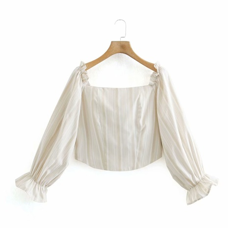 blusa con cuello cuadrado a rayas de primavera NHAM310706's discount tags