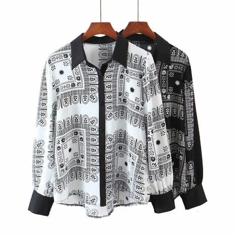 camisa de manga larga con estampado geométrico de solapa NHAM310705's discount tags