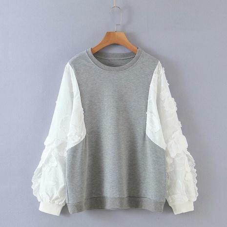 suéter de dos piezas con cuello redondo y mangas de flores falsas NHAM310707's discount tags