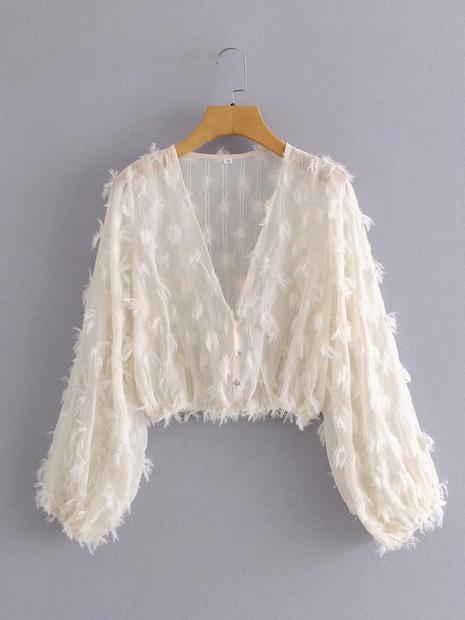 nueva camisa de plumas con cuello en V NHAM310704's discount tags