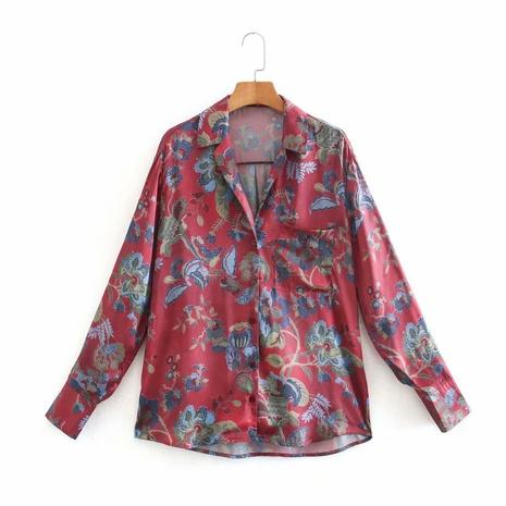 camisa con puños abotonados con estampado de primavera NHAM310709's discount tags