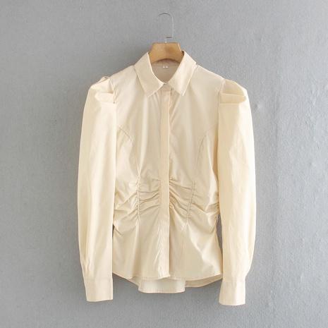blusa slim de popelina NHAM310710's discount tags