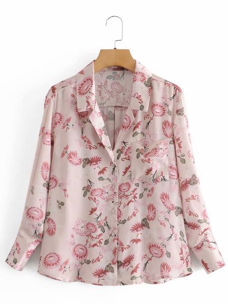 nueva camisa estampada holgada con cuello en V y botones NHAM310719's discount tags