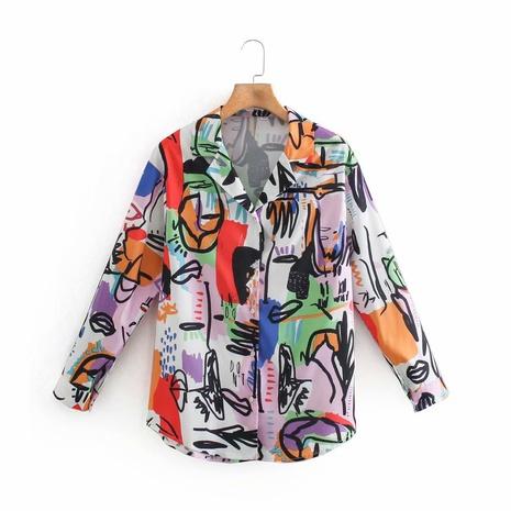 blusa con estampado de graffiti de primavera NHAM310720's discount tags