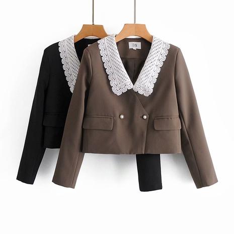nuevo traje corto retro con cuello de encaje NHAM310726's discount tags