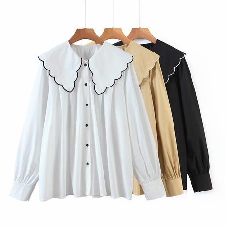 nueva camisa holgada de manga larga con cuello de hoja de loto NHAM310738's discount tags