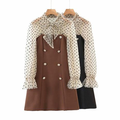 vestido de tirantes cruzado con lunares de moda NHAM310739's discount tags