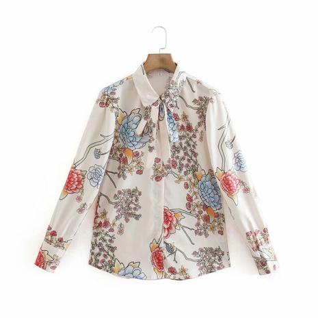 Camisa de lazo de impresión de primavera al por mayor NHAM310742's discount tags