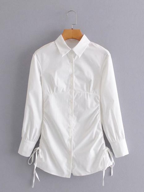 camisa con solapa y botones con cordón NHAM310749's discount tags