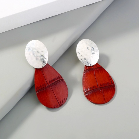 fashion red leather drop earrings NHAN310757's discount tags
