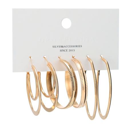 Conjunto de aretes chapados en oro irregulares en relieve retro de moda NHBD310871's discount tags