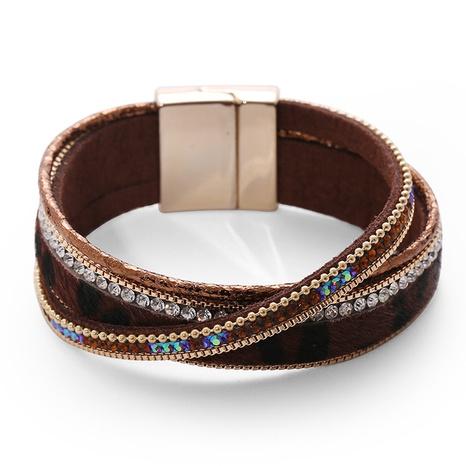 einfaches, mit Diamanten besetztes mehrschichtiges Lederarmband NHBD310905's discount tags