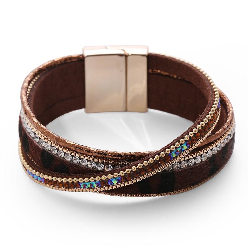 einfaches mit Diamanten besetztes mehrschichtiges Lederarmband NHBD310905