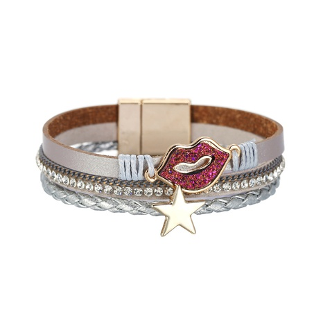 fashion lips stars diamond braided PU leather bracelet NHBD310930's discount tags