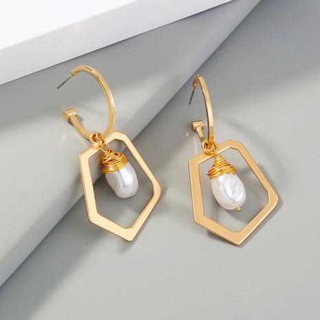 einfache perlgoldene geometrische Ohrringe NHAN310969's discount tags