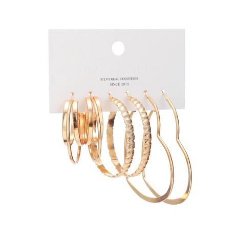 simple geometric circle love earrings set NHBD310978's discount tags