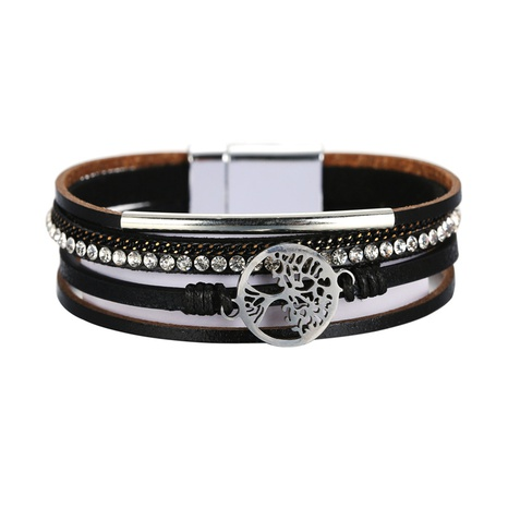 Bohemian fashion diamond tree of life multilayer leather bracelet  NHBD311029's discount tags