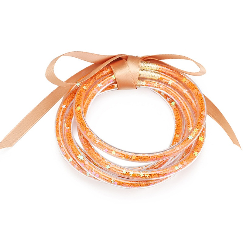 ribbon bow transparent star sequin bracelet NHBD311036