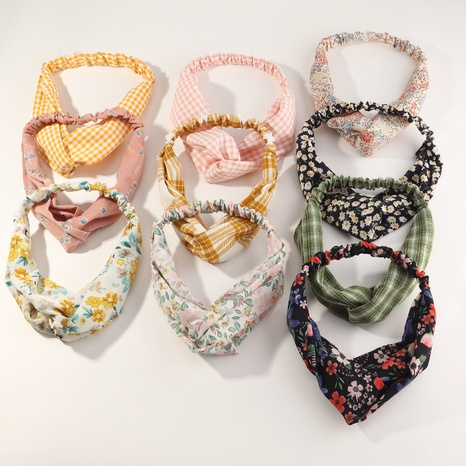 nouvelle bande de cheveux en croix élastique rétro floral NHAU311054's discount tags