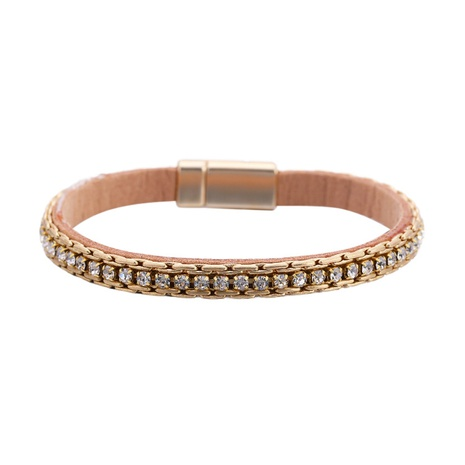 fashion PU leather rhinestone magnetic buckle bracelet NHBD311073's discount tags