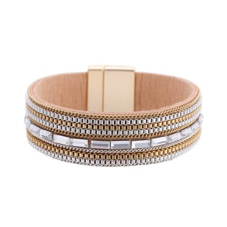 fashion diamond-studded leather bracelet  NHBD311075's discount tags