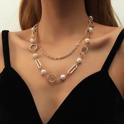 collar de hip hop de perlas multicapa de aleación NHBD311084