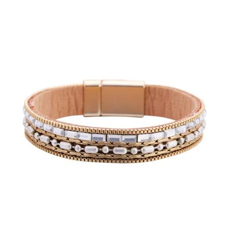 fashion diamond-studded leather bracelet  NHBD311104's discount tags