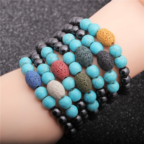 turquoise geometric volcanic stone bracelet NHYL311139's discount tags