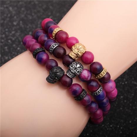 creative agate stone skull bracelet  NHYL311184's discount tags